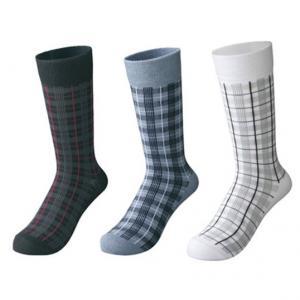 China custom socks ,design socks, logo socks,Mens Grid Pattern Dress Socks on sale