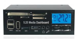 """Quality 5.25"""" USB 2.0 internal card reader multi function LCD Media Dashboard Front Panel (525) for sale"""