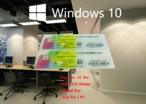 China Microsoft Windows 10 Pro COA Sticker German Language 64bit Online Activation Label With License Key on sale