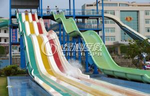 Quality Rainbow Multi Lane Racing Fiberglass Water Slides for Aqua Park Equipment 110m for sale