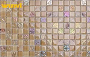 China Stain Resistant Irregular Patterns Iridescent Mosaic Glass Tile For Station on sale