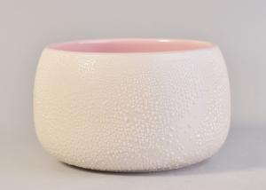 China Indoor Pink Inside Ceramic Candle Holder Glazed Particulate Matter Ceramic Candle Jar on sale