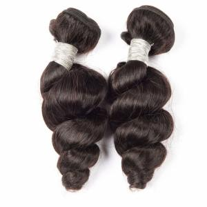 China 100% Human Hair Weave Bundles Raw Virgin Loose Wave Natural Black Remy Peruvian Hair on sale