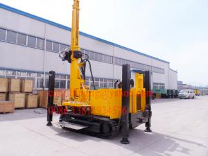 China Hydraulic Winch Crawler Mounted Water Well Drilling Rig for 90 - 300 mm Big Hole Diameter on sale