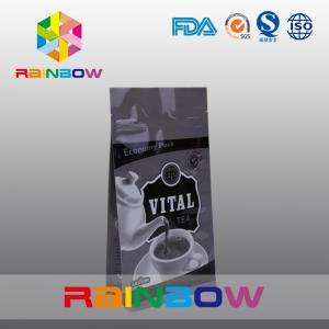 China Flat Bottom Vital Tea Packaging Bags / Economy Plastic Tea Packaging Pouches on sale