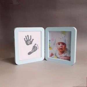 China Wood Material Custom Photo Frame 12 Month Baby Handprint And Footprint Kit on sale