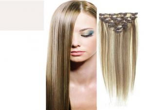 China Brazilian Straight Virgin Clipping In Hair Extensions , Real Human Hair Extensions Clip In on sale