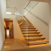 Floating Granite Straight Flight Staircase 12mm Glass Railing Customized Size