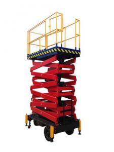China Lifting Height 16m Mobile Scissor Lift Hydraulic Lift Aerial Work Platform 300Kg Loading Capacity on sale