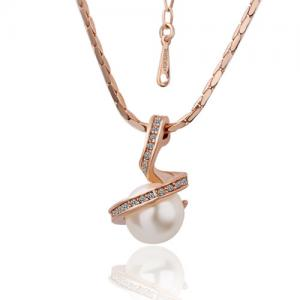 China 18K Rose gold plating Pearl pedant necklace with rhinestone inlay on sale