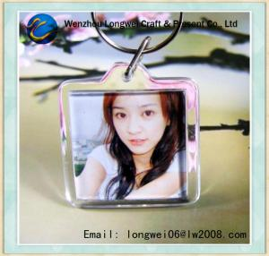 China Square DIY Plastic Photo Keychain , Clear Acrylic Photo Frame Key Chain on sale