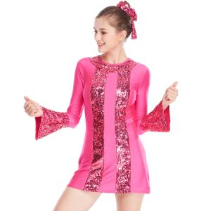 China A-Line 3/4 Sleeves Lycra Joints Sequins Jazz Costume Dance Dresses Competition Wear on sale