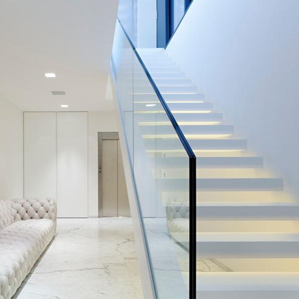 Frameless Glass Balcony Railing / Aluminum U Channel Glass