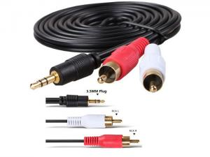 China 3.5mm Stereo Plug Jack to 2 RCA Male Stereo Audio Cable on sale