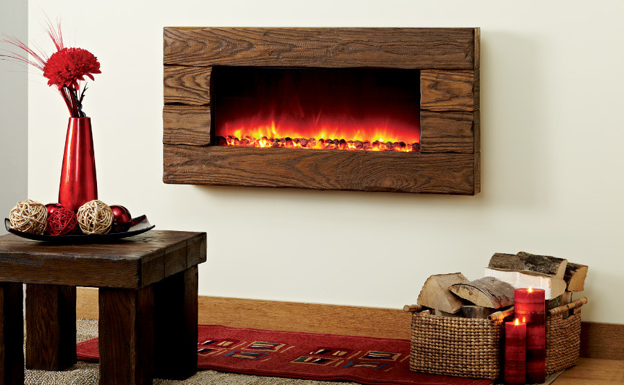 Electric fireplace heater long linear contemporary modern for Long modern fireplace