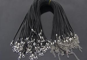 China Wholesale 2mm Black Silicone Necklace cord Rope 45cm Chain Lobster Clasp DIY Jewelry Accessories on sale