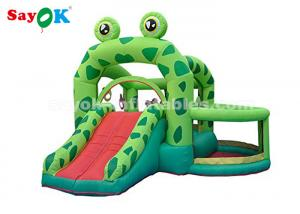 China Cute Green Frog Inflatable Bouncer Castle With Slide For Kids Party on sale
