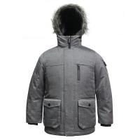 5 Sizes Grey Colour Outdoor Windproof Polyester Fabric YKK Zipper Winter Coat with handphone pocket for Kids Children