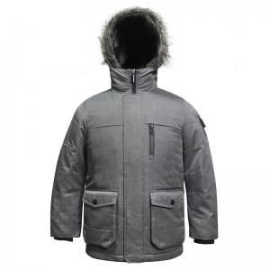 China 5 Sizes Grey Colour Outdoor Windproof Polyester Fabric YKK Zipper Winter Coat with handphone pocket for Kids Children on sale