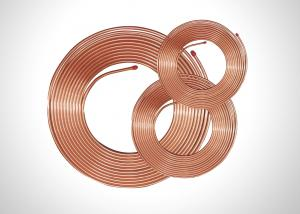 China TP2 Soft Copper Pipe Copper Pancake Coil , Refrigeration Copper Pipe 0.35-1.20mm Thick on sale