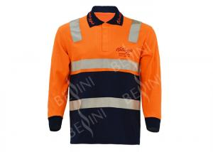 China 65% Polyester 35% Cotton Mens Work Polo Shirts / Long Sleeve Workwear Orange on sale