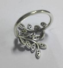 China Olive Branch Shape Womens 925 Sterling Silver Rings With Gray Zircons on sale