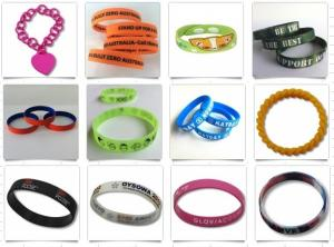 China Eco - Friendly Embossed Promotional Rubber Bracelets / Custom Silicone Wristbands on sale