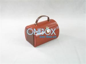 China Brown PU Leather Jewellery Box , Girls Cosmetic Makeup Case on sale