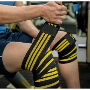 b9566d95d8 ... Quality Fitness & Powerlifting Sports Knee Wraps For Cross Training  WODs Gym Workout ...
