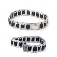 Fashion mens jewelry men bracelet stainless steel plus Silicon bracelets jewelry wholesale