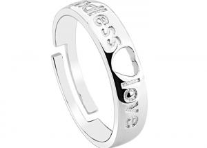 China Endless Love Sterling Silver Couple Wedding Rings Set With Heart Shaped Zircon on sale