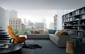 Quality Gray Modern Sectional Sofas For Living Room With Italian and European Style , for sale