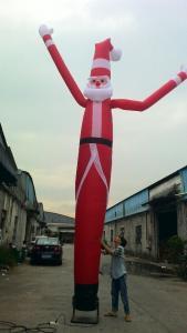 China Christmas Santa Claus Inflatable Air Dancer , Oxford Cloth Christmas Dancer Single Leg on sale