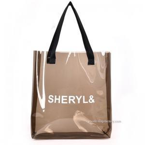 China Women's Clear Tote Shoulder Bag Transparent PVC Tote Handbag for Travel & Gym on sale