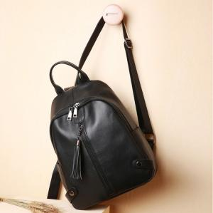 China Daily Double Shoulder Bags for Lady Simple Pure Cow Leather Backpack on sale