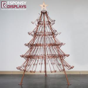 China Attractive Golden Christmas Tree Metal Wire Floor Wine Display Stand with LED on sale