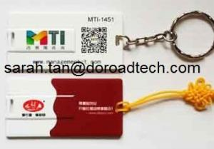 China Promotional Gifts Customized Logo Mini Credit Card USB Flash Drives with Keychain on sale