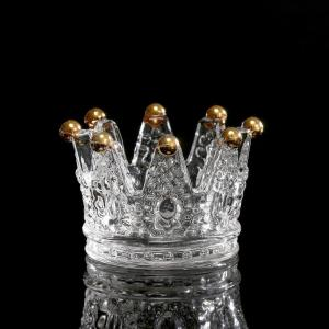 China Classic Crown Clear Glass Candle Holders on sale