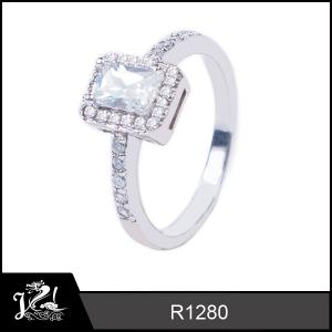 China JRL cubic Zirconia 925 Solid Sterling Silver engagement Ring wholesale R1280 on sale