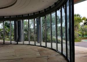 China Sliding Curved Glass Partition Wall Magnetic Strip Polyester Powder Coating on sale