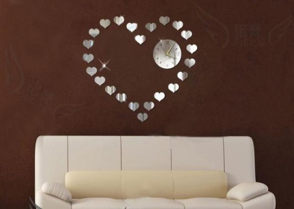 Silver Antique Decorative Mirror Clock Quiet Wall With Heart Design Images