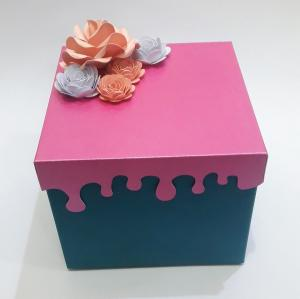 China Rouge Red Small Mini Suitcase Gift Box With Handmade Fold Flower Lid on sale