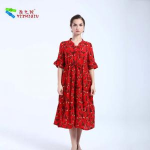 China YIZHIQIU Short Sleeve Cotton And Linen Flare Dress on sale