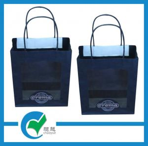 China Printed logo paper carrier bags printed with twisted PET window black matt paper on sale