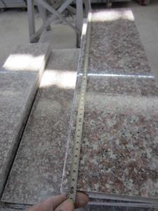 China Peach Red G687 Granite Stair Step Riser Tread Bullnose For Sale G687 Granite Peach Red Granite Tiles on sale