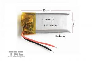 China 3.7v 90mah 401225 Rechargeable Li ion Polymer Battery For Recording Pen on sale