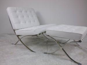 China White Barcelona Leather Lounge Chair With Stainless Steel Frame High Density Sponge on sale
