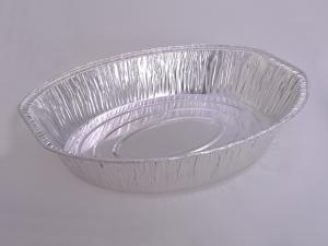 China Silver Aluminum Foil Roasting pan Food Grade Deep Oval Shape For Pie Baking on sale