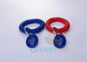 China Stretchable Spiral Wrist Coil Keychains With Custom Colors / Logo Oval Tag on sale