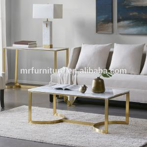 China High quality hotel Madison Park Antonio Marble Table Stainless Steel Coffee Side End Table on sale